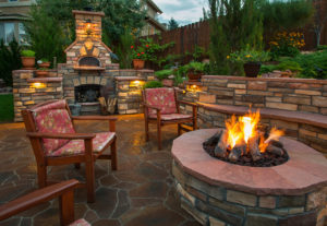 amazing backyard with pizza